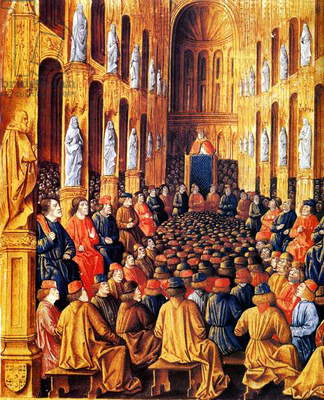 pope Urban II (1040-1099 pope in 1088-1099) chairing the Ecumenical council of Clermont and preaching the crusade, november 27, 1095, detail from 15th century manuscript by Sebastien Mamerot (1490)
