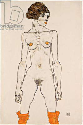 Standing Young Female Nude with Orange Coloured Stockings, drawing by Egon Schiele, 1914