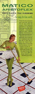 advertising for the Matico Aristoflex vinyl plastic tile flooring, published in american magazine april 1956