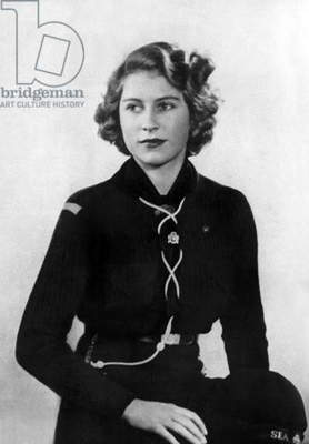 Princess Elizabeth of England (future queen Elizabeth II) young wearing girl scout uniform (she's member of the Buckingham Palace Company of Girl Guides) in 1943