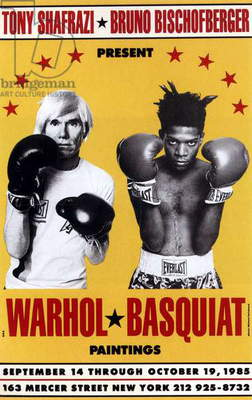 Exposition Andy Warhol et Jean Michel Basquiat a New York affiche du 19 octobre 1985