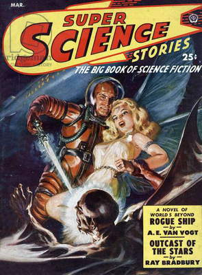 Cover of americans cience fiction magazine Super Science Stories march 1950