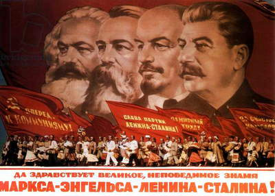 Propaganda poster: Karl Marx, Friedrich Engels, Lenin and Stalin c. 1960
