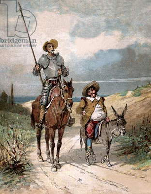 Don Quixote and Sancho Panza, illustration of book by Miguel de Cervantes