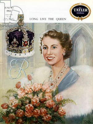 Cover of magazine Tatler et Bystander june 10, 1953: drawing showing queen Elizabeth II of England who has just been crowned