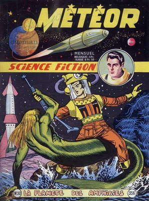 Cover of french magazine Meteor (november 1955) with science fiction cartoons