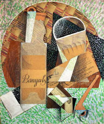 The Bottle of Banyuls, 1914 (gouache & collage)