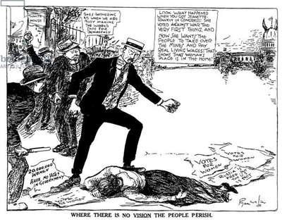 Where There is No Vision the People Perish, editorial cartoon showing angry male opponents kicking the body of a suffrage picket in front of the White House, 1917 (b/w editorial cartoon)