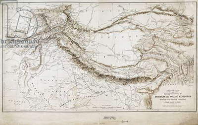 Sketch map of routes traversed by European and Asiatic explorers beyond the British Frontier from 1865-97, 1897 (engraving)