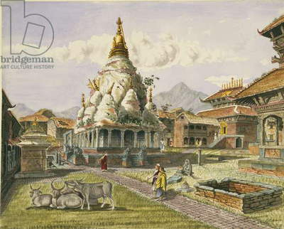 T615 Rato Machhendranath Temple at Bungamati, Newari Tribe Village, Nepal, July 1857 (w/c)
