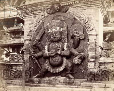 Image of Kala Bhairab in Durbar Square, Kathmandu, Nepal, 1894 (b/w photo)