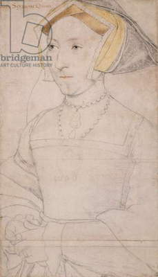 Queen Jane Seymour, c.1536-37 (pen & ink with chalk on paper)