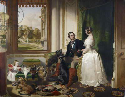 Windsor Castle in modern time; Queen Victoria, Prince Albert and Victoria, Princess Royal, 1840-43 (oil on canvas)