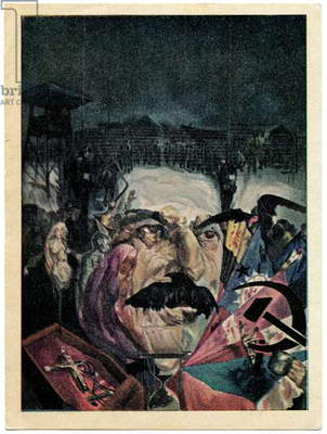 French Propaganda Postcard Satirising Iosif Stalin, early 1930s