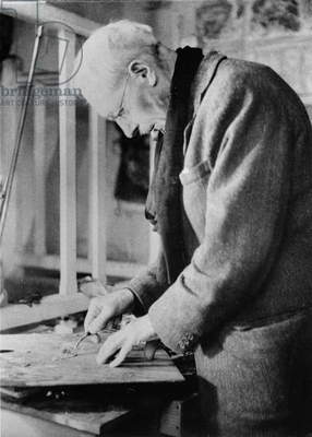 Portrait of Pierre Bonnard (1867-1947) Painting in a Jacket and Scarf (b/w photo)