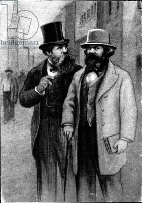 Karl Marx and Friedrich Engels (litho)