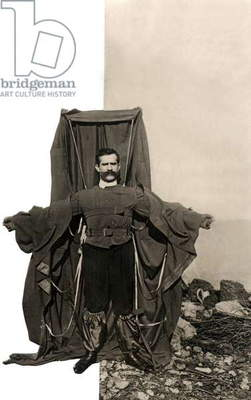 Austrian Franz Reichelt with opened parachute before his deadly jump of the Eiffeltower in Paris, France, 1912
