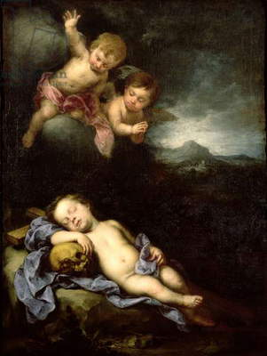 The Infant Christ Asleep on the Cross (oil on canvas)