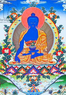 Image depicting the medicine Buddha, the supreme healer in monastic robes with a bowl containing the medicinal plant arura in the left hand (gouache on cloth)