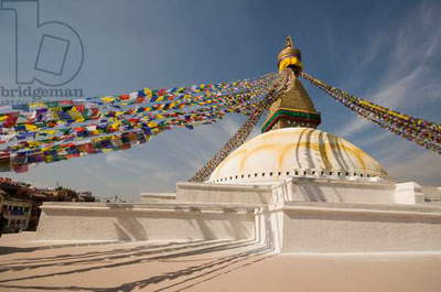 NEPAL, Kathmandu, Boudhnath, Boudah Buddhist Temple (16th Century), largest stupa in Nepal with prayer flags, a centre for Nepal's Tibetan population