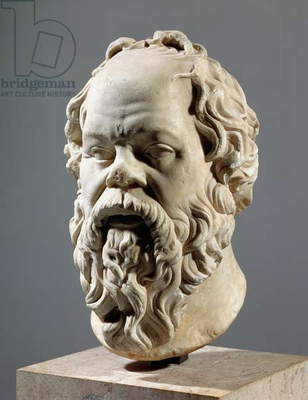 Socrates, marble head, copy from a bronze from the Pompeion in Athens, made by Lysippus, Classical Greek, c.330 BC
