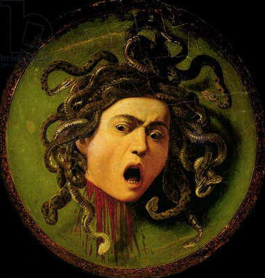 Medusa, painted on a leather jousting shield, c.1596-98 (oil on canvas attached to wood) (pre restoration)