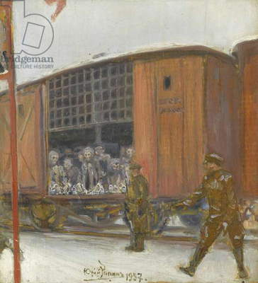 A Prisoner Transport, 1937 (oil on panel)
