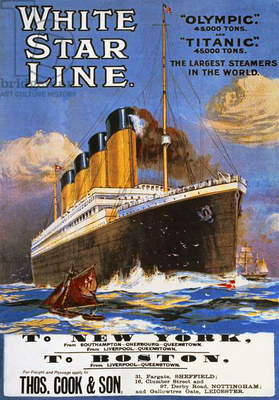 Poster advertising the White Star Line, 1911 (colour litho)