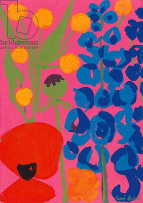 Poppy and Delphinium, 1998 (gouache on paper)