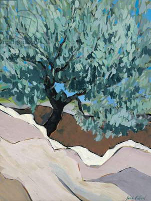 Olive Tree in Crevice, 2010 (goauche)