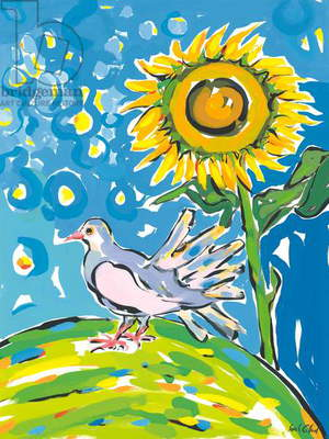 Dove and sunflower, 2004 (goauche)