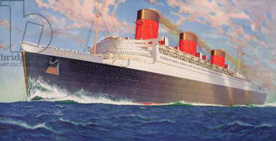 R.M.S. Queen Mary, Cunard White Star Line, by William McDowell, c.1938 (colour litho)