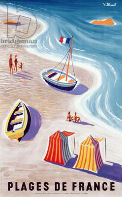 Poster advertising French Beaches, printed by the French Government, c.1955
