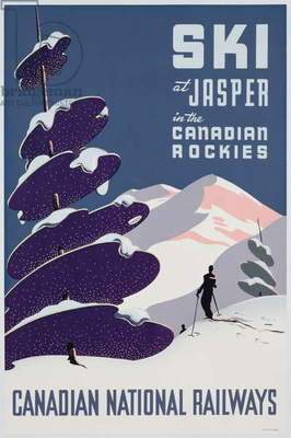 Poster advertising the Canadian Ski Resort Jasper (colour litho)