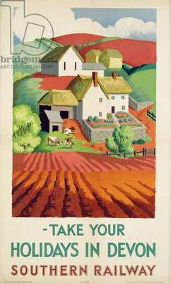 doster from Southern Railway advertising their route to Devon, 1937 (colour litho)