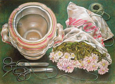 Scissors and String, 1980 (pastel on paper)
