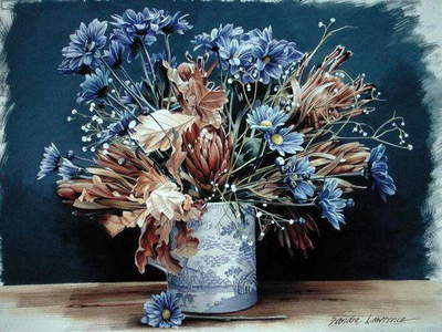 Blue Chrysanthemum, 1993 (gouache on paper)