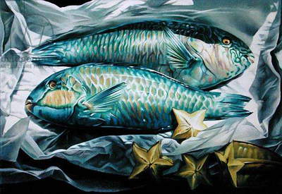 Starfruit and Fish, 1999 (acrylic on canvas)