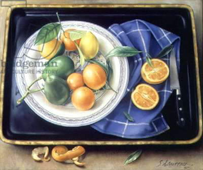 Lemons, Oranges and Avocados Still Life, 1994 (oil on canvas)