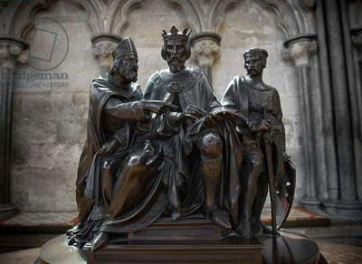 Statue of King John signing the Magna Carta at Runnymede, Salisbury Cathedral Chapter House (photo)