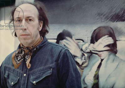 The artist Richard Hamilton, in front of his painting 'Swingeing London', c.1969 (photo)