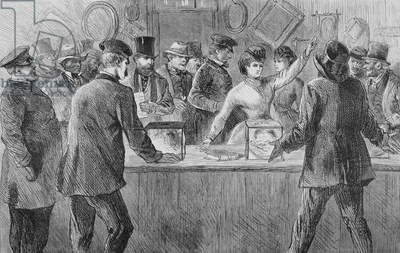 Victoria Woodhull (1838-1927) attempting to cast a vote, 1871 (engraving)