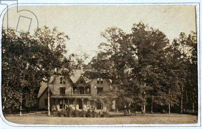 View of Harriet Beecher Stowe's (1811-96) home, Oakholm, Hartford, CT, c.1865 (b/w photo)