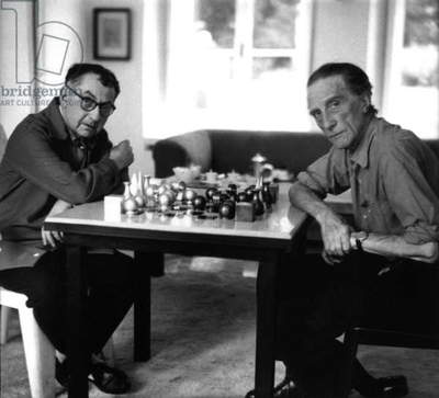 Man Ray and Marcel Duchamp playing chess, c.1957 (b/w photo)