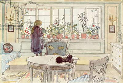 Flowers on the Windowsill, from 'A Home' series, c.1895 (w/c on paper)