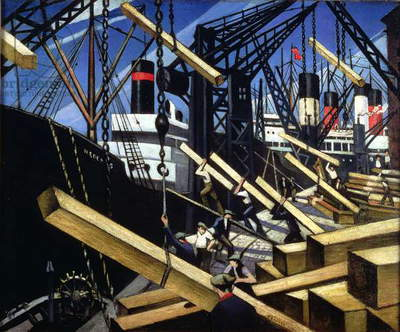 Loading Timber, Southampton Docks, 1916-17 (oil on canvas)