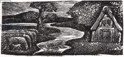 Sabrina's Silvery Flood, illustration from Dr. Thornton's 'The Pastorals of Virgil' (woodcut)