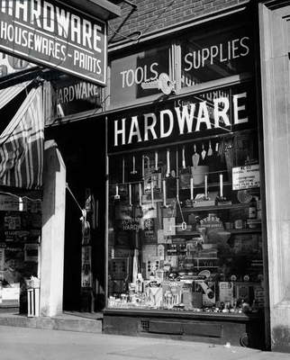 Window display of a hardware store