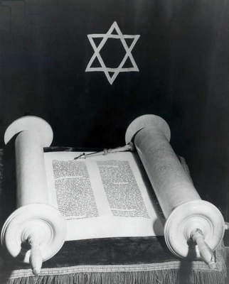 High angle view of a torah