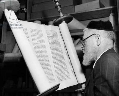 Torah scribe reading the torah